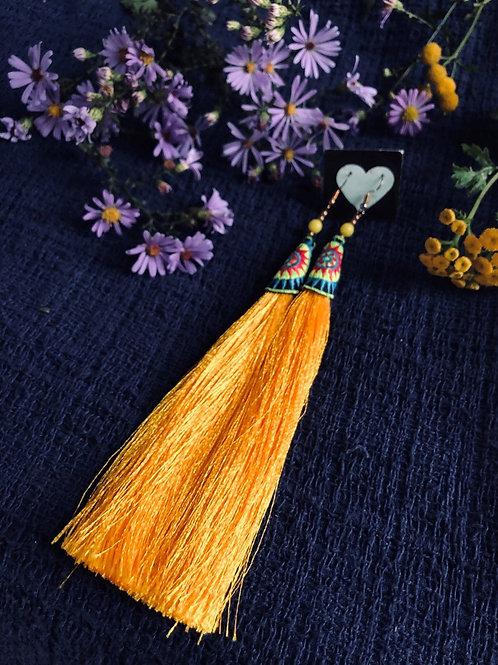 Hmong silk tassel earring