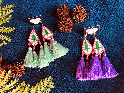 Hand embroidered silk tassel earring