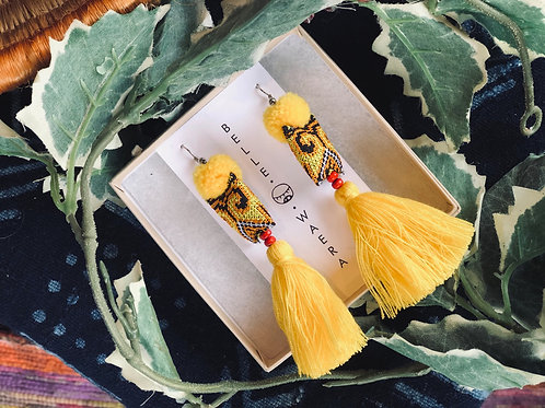 Upcycle tassel earring -Hmong fabric