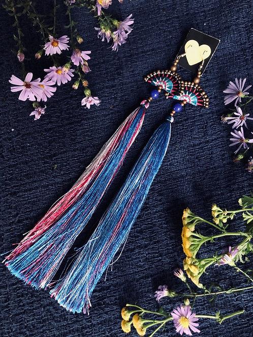 Funky Hmong earring -long tassel