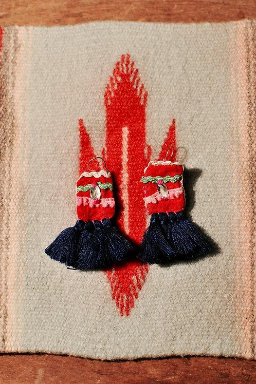 Autumn Hmong tassel earring