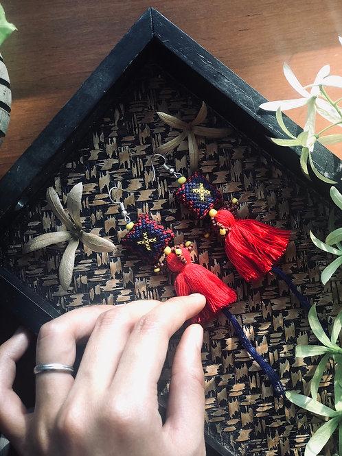 Handmade red tassel earring