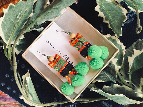 Upcycle earring -Hmong fabric