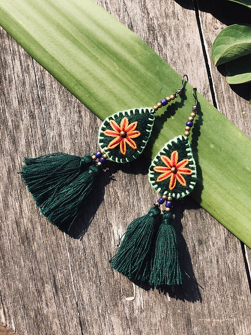 Hand embroidered earring (cotton tassel)