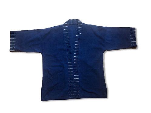 Hand weaving indigo dye kimono