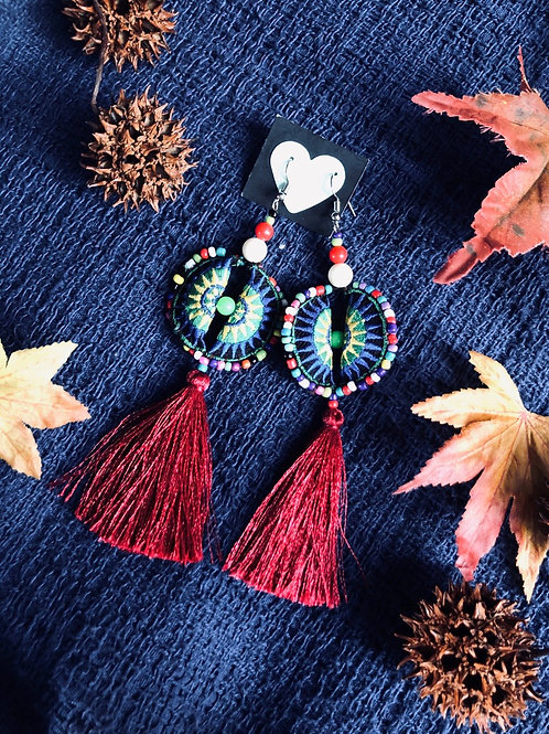 Hmong earring - silk tassel