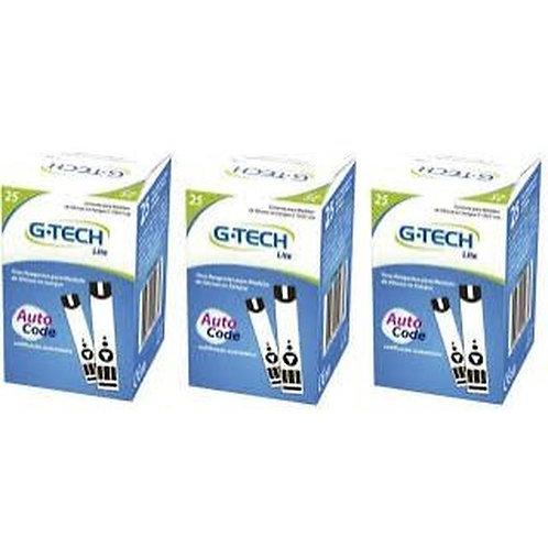 Fita Teste Glicemia Tira Glicose  G-tech Lite CX c/ 50 ou 25.