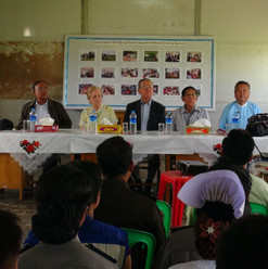 Chairperson and members meeting with officials at Nga Khu Ya Reception Centre in Nga Khu Ya Village