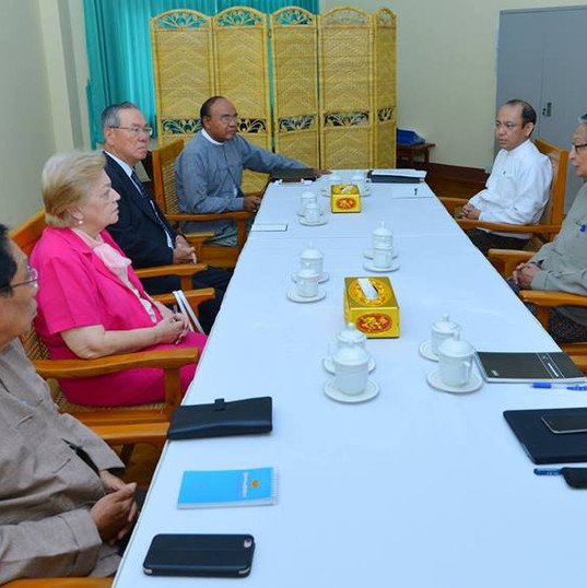 H.E. U Kyaw Tint Swe, Union Minister for the Office Of the State Counsellor receives ICOE at the Ministry Of the Office Of the State Counsellor  Photo-Myanmar State Counsellor Office