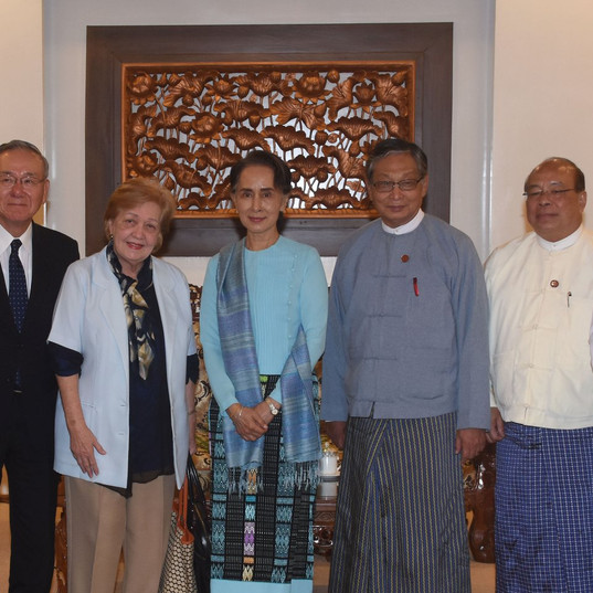 ICOE's first meeting with State Counsellor of the Government of the Republic of the Union of Myanmar, Union Minister for the Office of the State Counsellor, Union Minister for the office of the Union Government, Union Minister for the International Cooperation Photo-MNA