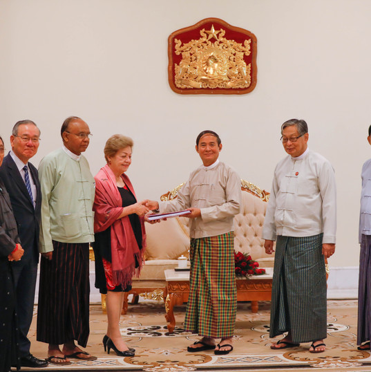ICOE Chairperson Ambassador Rosario Manalo and fellow members were received by the President at the Presidential Palace in Nay Pyi Taw whereupon she handed over the commission's final report Photo- MNA