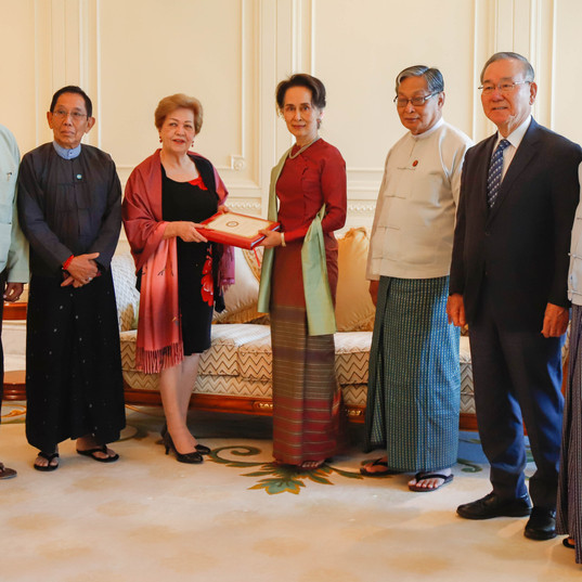 ICOE Chairperson Ambassador Rosario Manalo and fellow members were received by the State Counsellor at the Presidential Palace in Nay Pyi Taw Photo-MNA