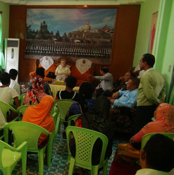 Chairperson and members meeting with locals at Nga Khu Ya Reception Centre in Nga Khu Ya Village