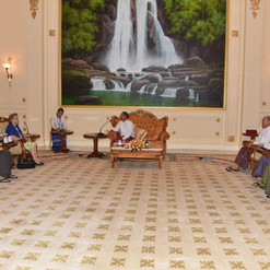 Vice President U Myint Swe receives ICOE at the Envoys Hall of the Presidential Palace on 6 October, 2018 Photo-MNA