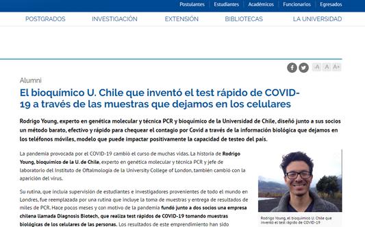 El bioquímico U. Chile que inventó el test rápido de COVID-19 a través de las muestras que dejamos en los celulares