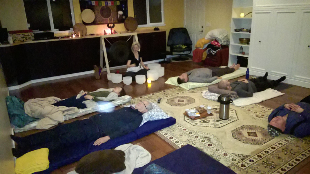 People recieving healing at Sound Bath (