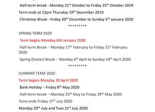 Term Dates for 2019-2020