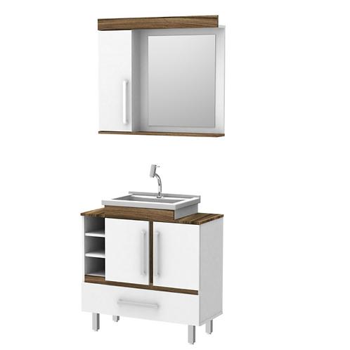 Conj. Banheiro 3 peças (Bl/Pia/Espelh) 80 cm c/ gaveta - Luxo - ref. 822