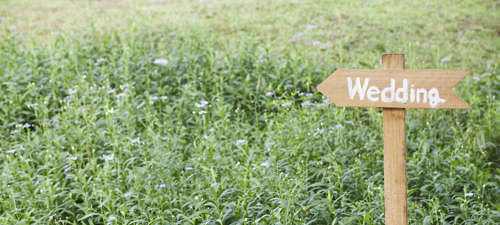 Wedding sign in a field of flowers. It is pointing towards the wedding ceremony and wedding reception site. #weddingplanner #malibuweddingplanner #scottsdaleweddingplanner #losangelesweddingplanner