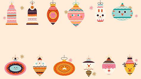 Colorful Ornaments Holiday Zoom Virtual