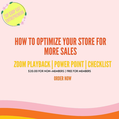 Optimizing your website for More Sales!