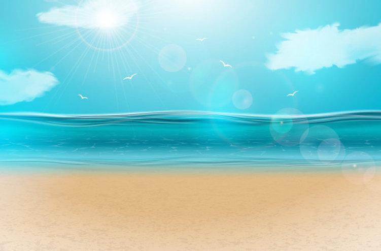 blauw-oceaanlandschap-met-bewolkte-hemel