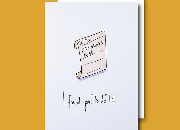 To Do List card