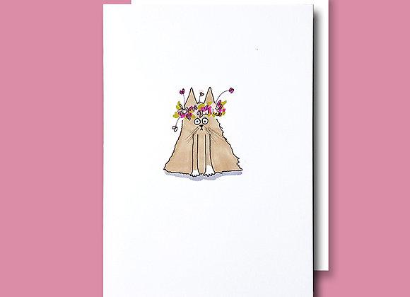 Chubby Flower Cat card