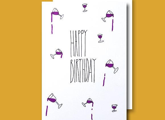 Spilled Wine Birthday card