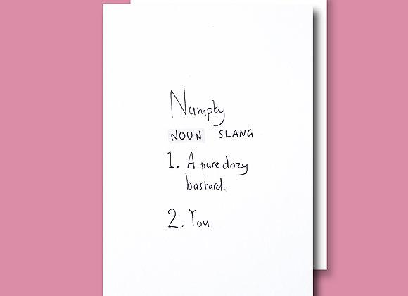 Numpty card