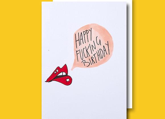 Lips Fkn Birthday card