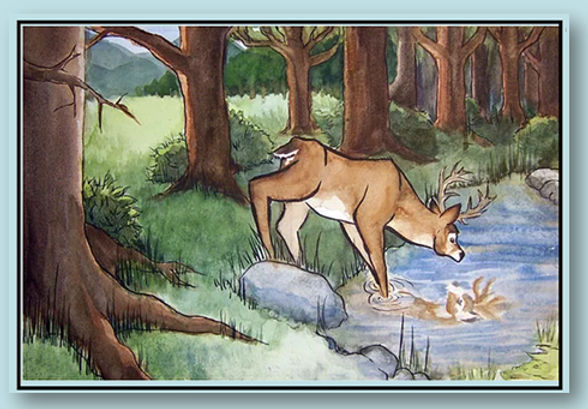 Stag at the Pool (blue).jpg