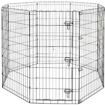 Foldable Metal Pet Dog Exercise Fence Pen With Gate - 60 x 60 x 48 Inches