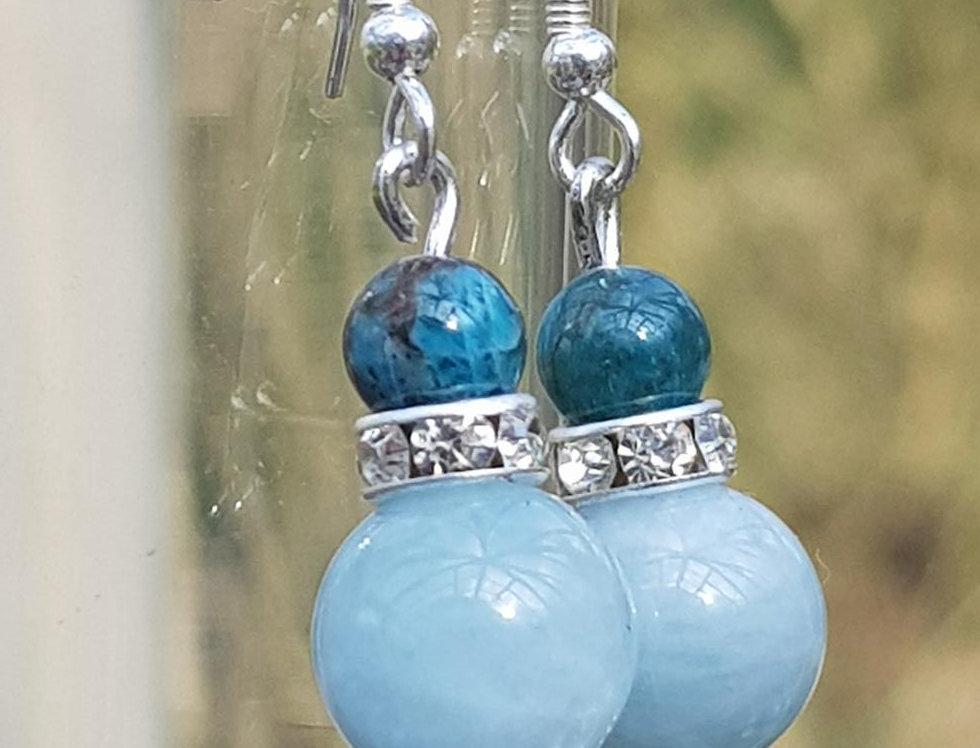 Sterling Silver Aquamarine & Apatite Crystal Earrings - Reiki Master Infused