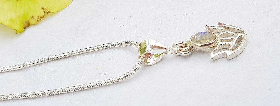 Sterling Silver Lotus flower Pendant & Moonstone - Reiki Master Infused