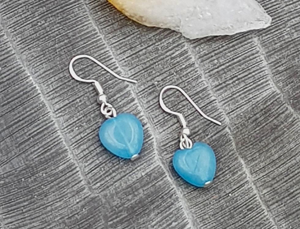 Sterling Silver Aquamarine Crystal Heart drop Earrings - Reiki Master Infused