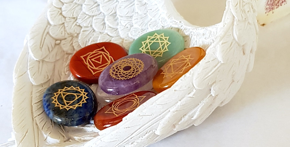 Chakra Clearing Crystals & Gemstones with Angel Wing Dish - Reiki Master Infused