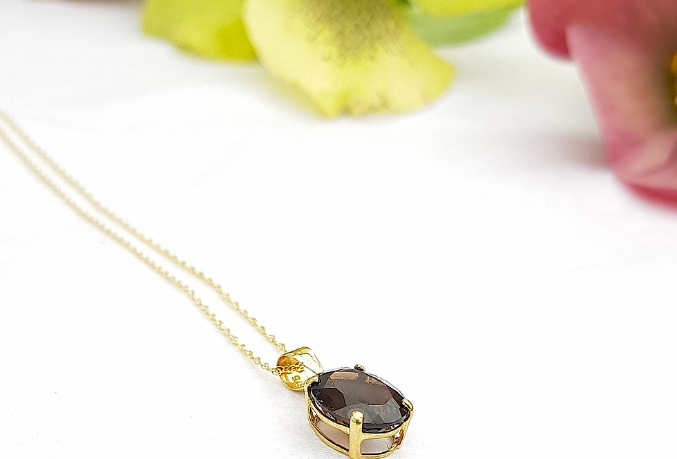 9ct Solid Gold Smoky Quartz Crystal Pendant Necklace - Reiki Master Infused
