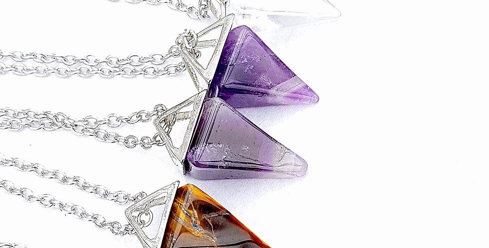 Natural Crystal/Gemstone Pyramid Pendant Necklace - Reiki Master Infused