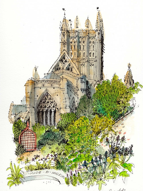 Wells Cathedral from the Garden of Reflection