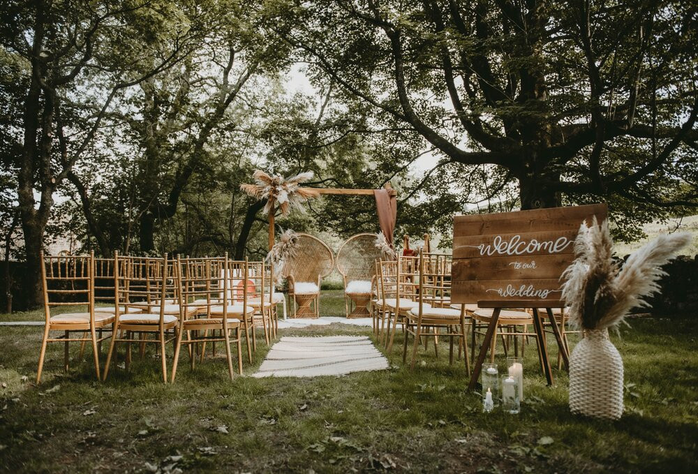 Outdoor ceremony area perfect for your celebrant led ponden mill wedding ceremony
