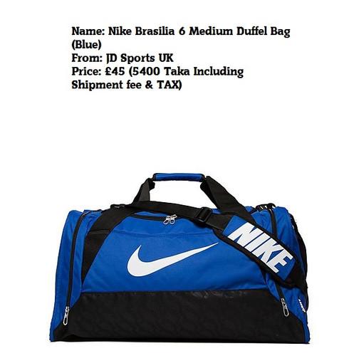 b45df8b4cc37 Nike Brasilia 6 Medium Duffel Bag. £ 45.00. Imported from JD Sports UK