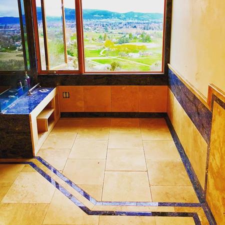Custom tile work in preparation for the