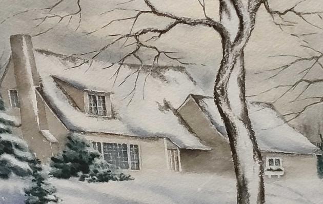 Home Winter Scene Painting - 18x23