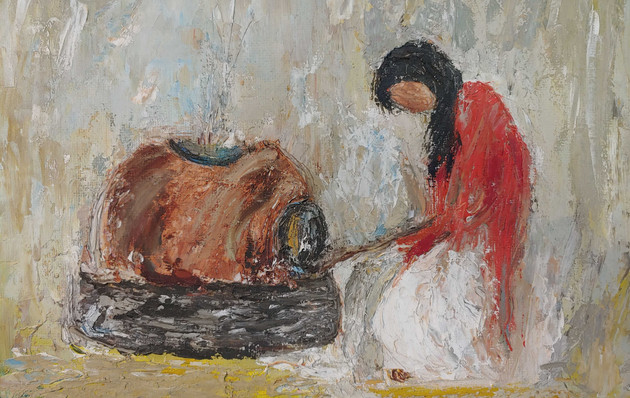 Indian Women Cooking w/Clay Pot