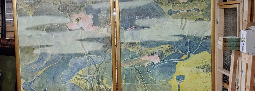 Oriental Mountain Scene on Fabric - 20x32