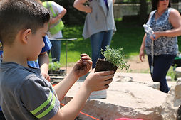 Student planting at Paliafito Eco-Arts P