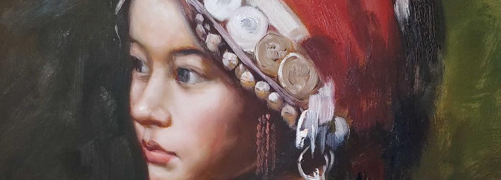 Tibetan Singer Oil Painting - 34x30