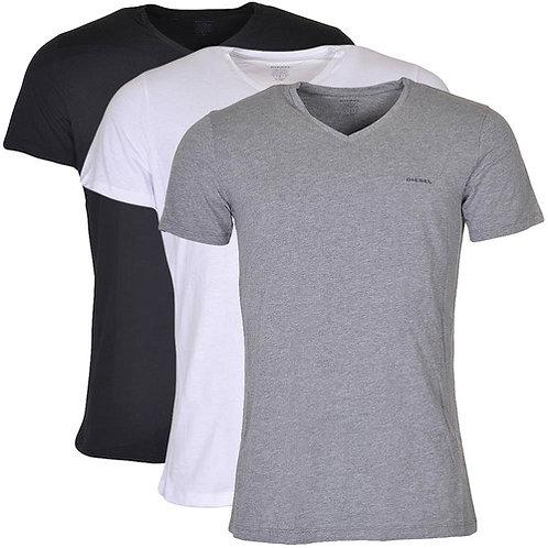 Kit Camisetas Diesel Gola V- Preto/Branco/Cinza