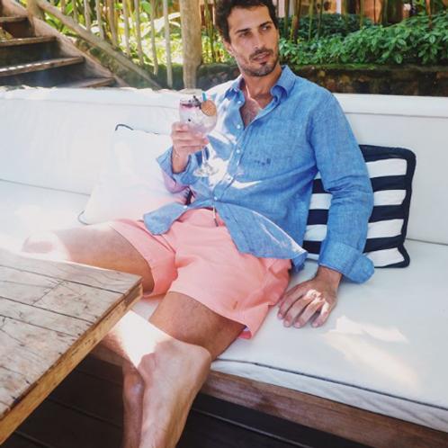 Camisa de Linho Shorts Co - Azul Balada